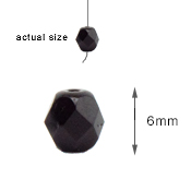6MM BLACK CRYSTAL GLASS BEADS